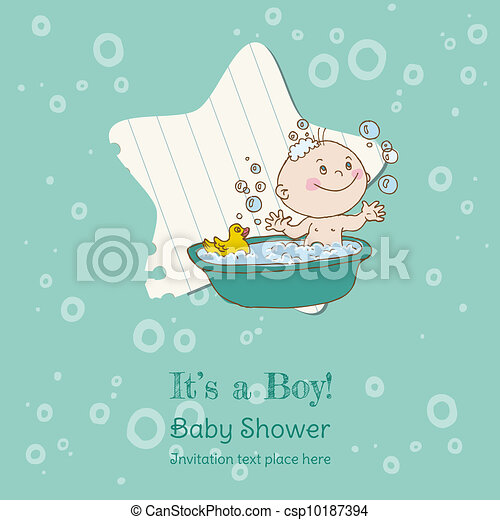 Baby Boy Shower and Arrival Card - with place for your text in vector - csp10187394