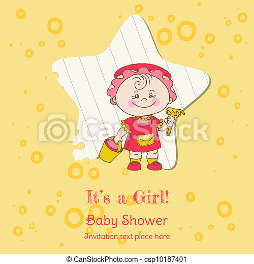 Baby Girl Shower and Arrival Card - with place for your text in vector - csp10187401
