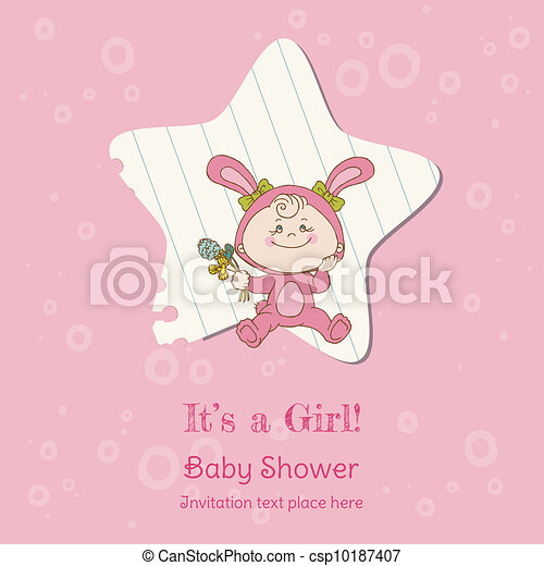 Baby Girl Shower and Arrival Card - with place for your text in vector - csp10187407