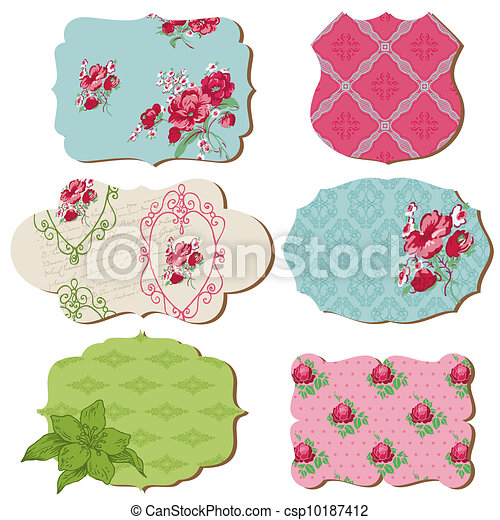 Scrapbook Design Elements - Vintage Tags with Flowers - in vector - csp10187412