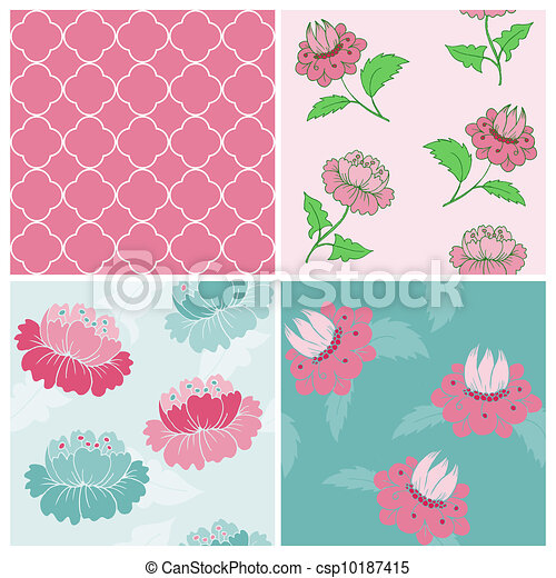 Set of Seamless Vintage Floral backgrounds - for scrapbook and design - in vector - csp10187415