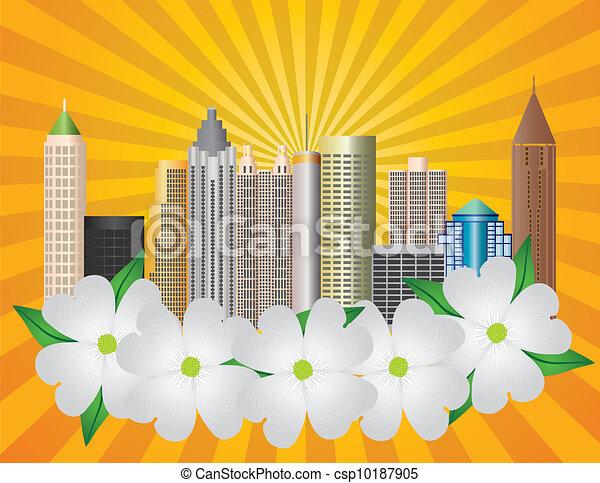 Atlanta Georgia City Skyline with Dogwood Illustration - csp10187905
