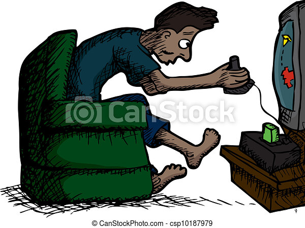 Man Playing Video Games - csp10187979