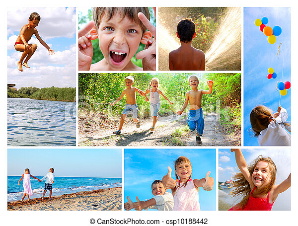 happy summer childhood collage - csp10188442