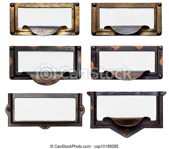 Old File Drawer Frames With Blank Labels - csp10189285