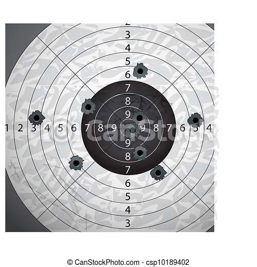 Gun bullet`s holes on paper target - csp10189402