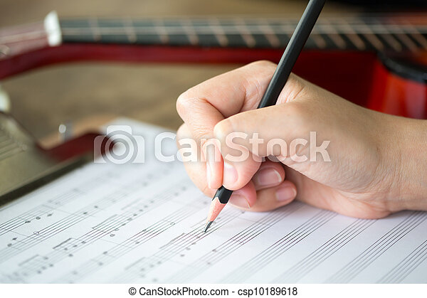 blyertspenna, ark, musik,  hand - csp10189618