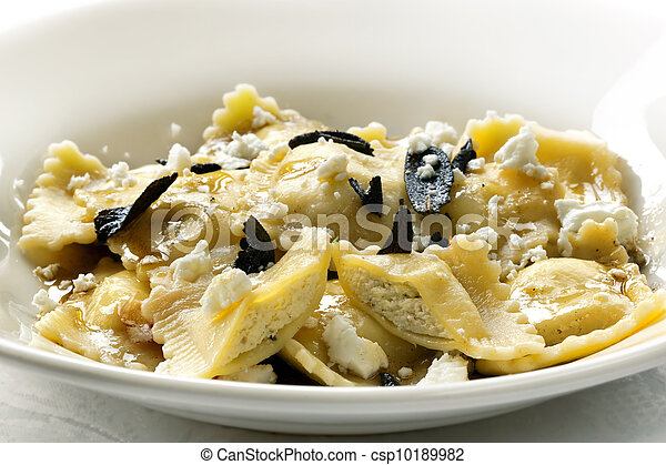 Ravioli with Burnt Sage Butter and Cheese - csp10189982