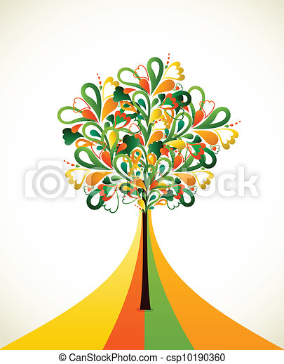 Painting abstract tree on colorful strips. Vector - csp10190360