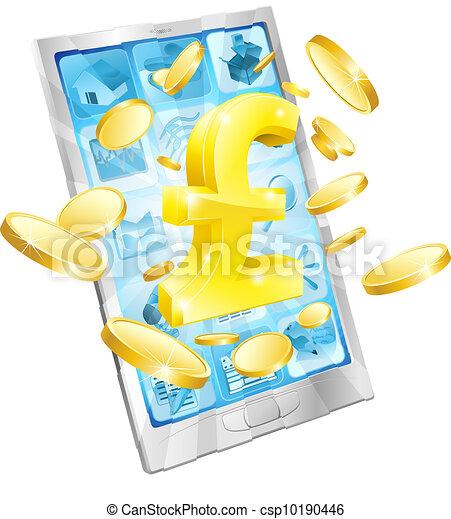 Pound money phone concept - csp10190446