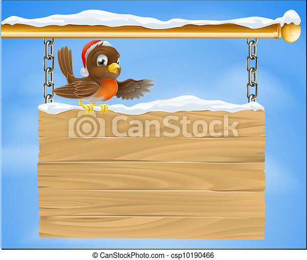 Christmas sign robin bird - csp10190466
