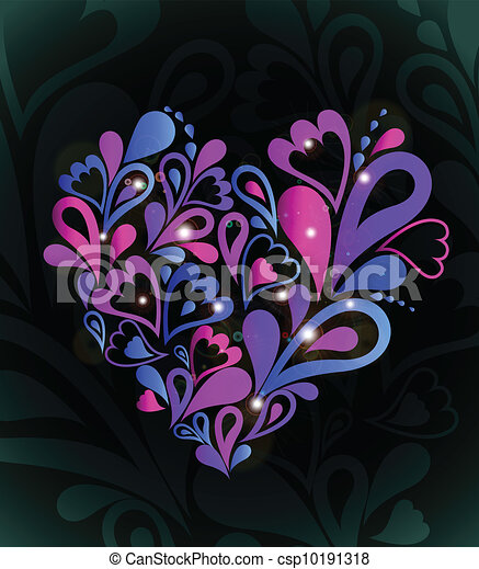 Abstract heart colorful. Vector - csp10191318