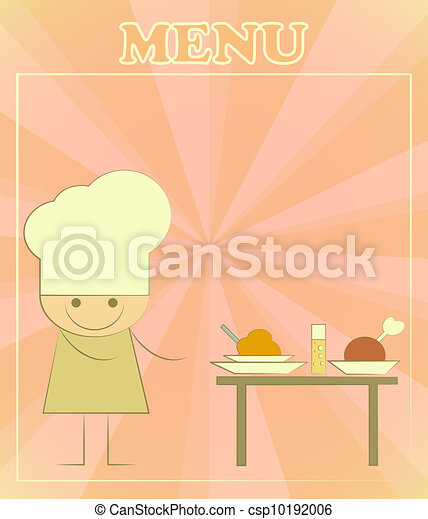 Design of kids menu with chefs and served table - csp10192006