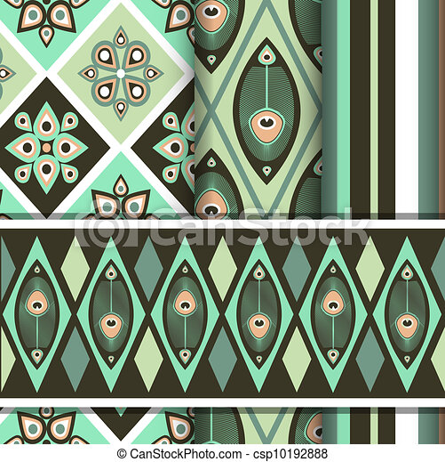 Vector set of patterns with peacock butterfly - csp10192888