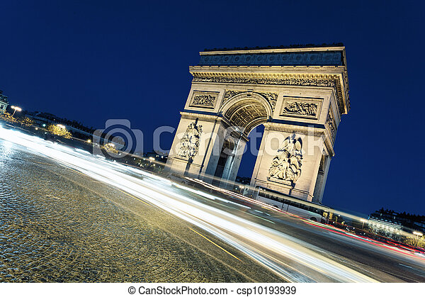 Arc de Triomphe by night with car lights - csp10193939