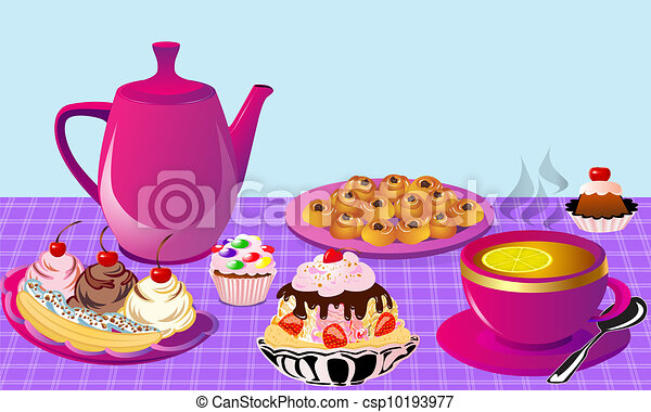 Free Clipart Tea And Cake : Tea With Lemon And Fruit Cake,... - Royalty Free EPS Clip ...
