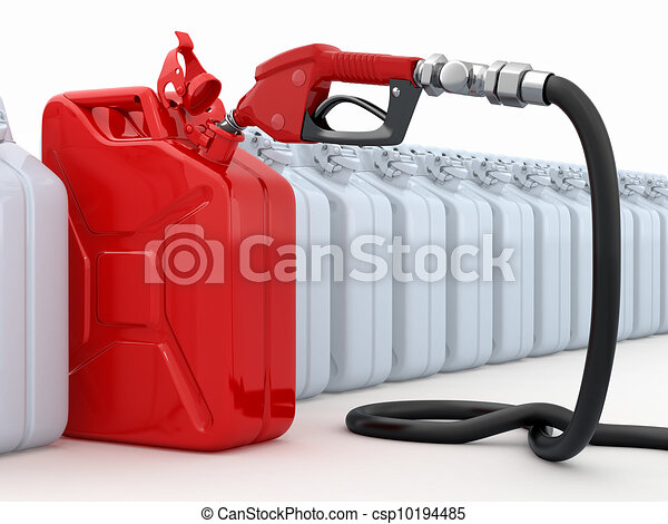 Gas pump nozzle and canister on white background - csp10194485