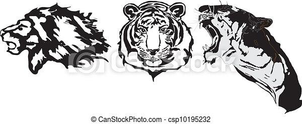Aggressive tattoo animals - csp10195232