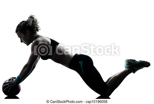 woman exercising fitness ball workout   - csp10196058