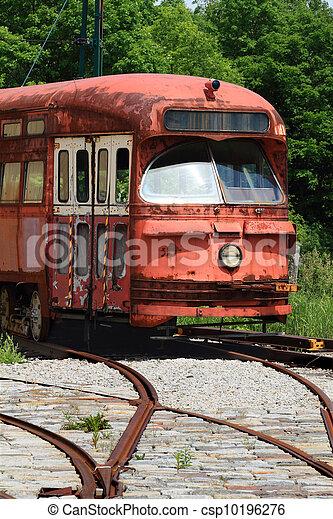 Railway Interurban public transportation, streetcar, tram. - csp10196276