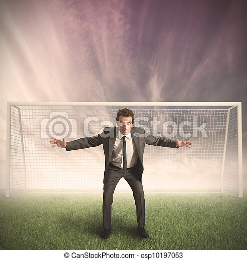 Businessman protects his business - csp10197053