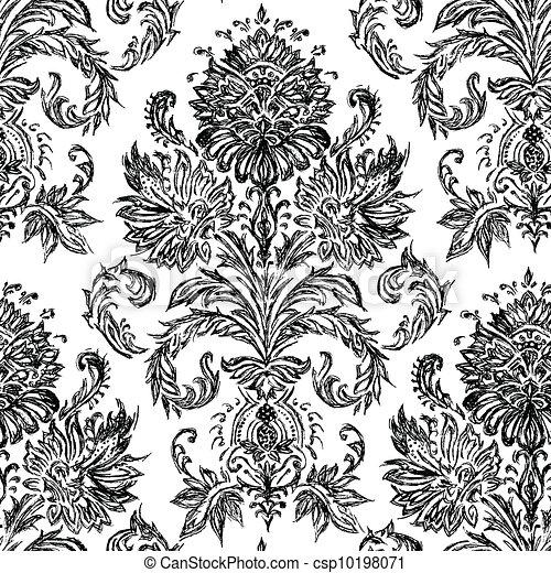 Vector Hand Drawn Damask Pattern - csp10198071