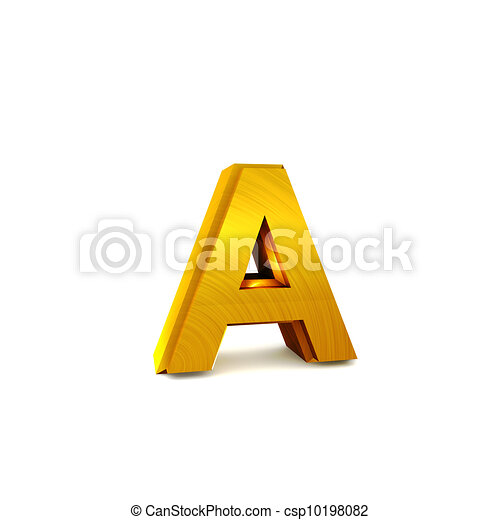 Shining gold 3D alphabet - csp10198082