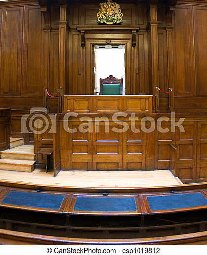 Very old courtroom (1854) with Judges chair at St Georges Hall, Liverpool,UK - csp1019812