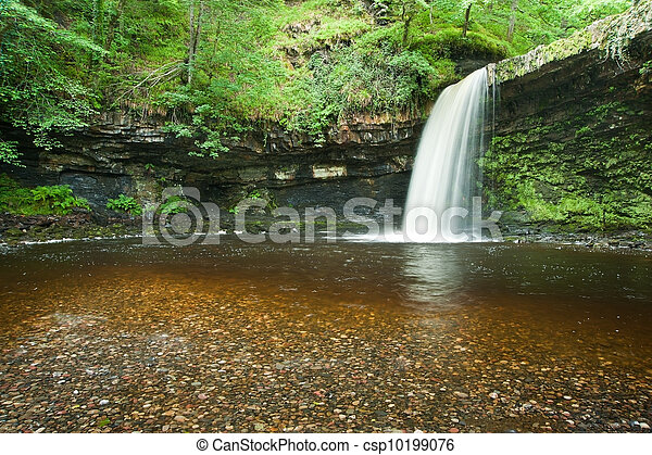 Beautiful woodland stream and waterfall in Summer - csp10199076