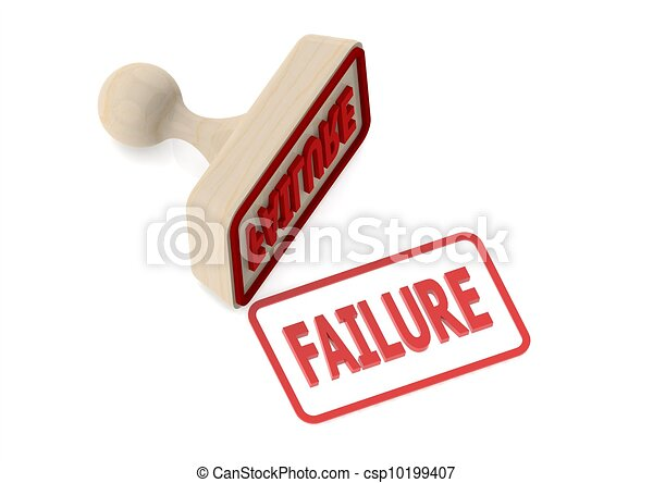 Wooden stamp with failure word - csp10199407
