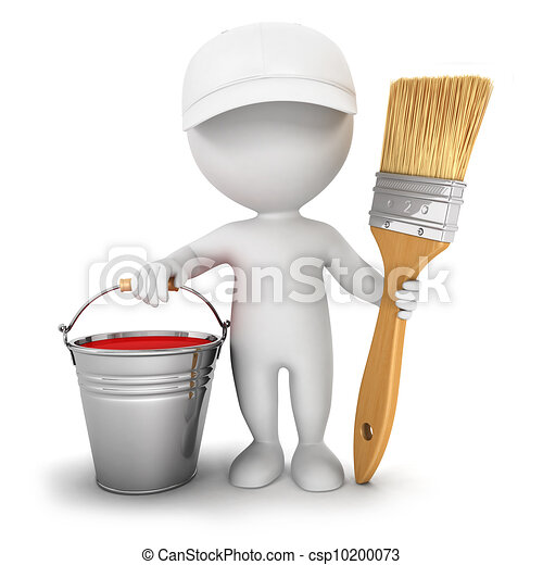 Stock Illustrations Of 3d White People House Painter 3d