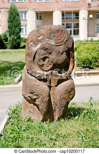 Stone polovtsian sculpture in park-museum of Lugansk, Ukraine - csp10200117