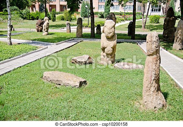 Stone polovtsian sculptures in park-museum of Lugansk, Ukraine - csp10200158