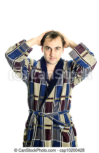 Man dressing bathrobe - csp10200428