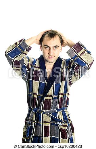 Man dressing bathrobe - csp10200428