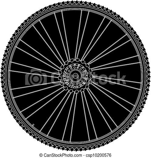Vector Art Bike Wheel with Spokes