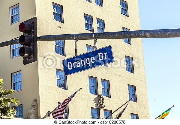 Orange Drive street sign in Hollywood - csp10200578