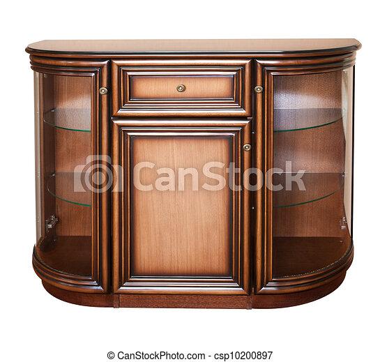 Wooden old stile bureau. Isolated on white - csp10200897