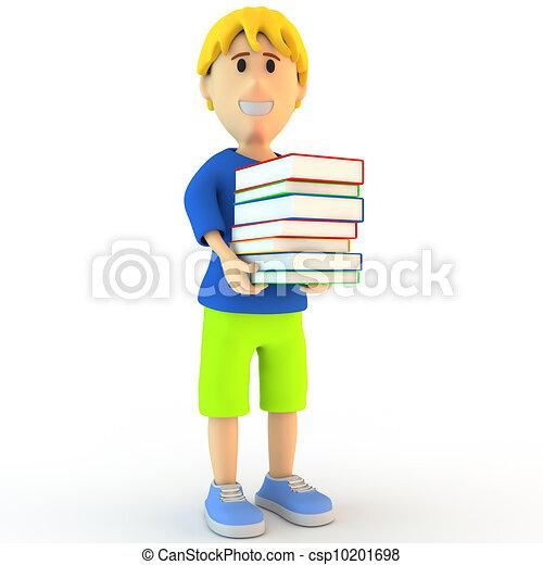 卡通漫画, 学校, 男孩