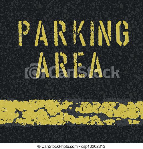 Parking area sign on asphalt background. Vector, EPS10 - csp10202313