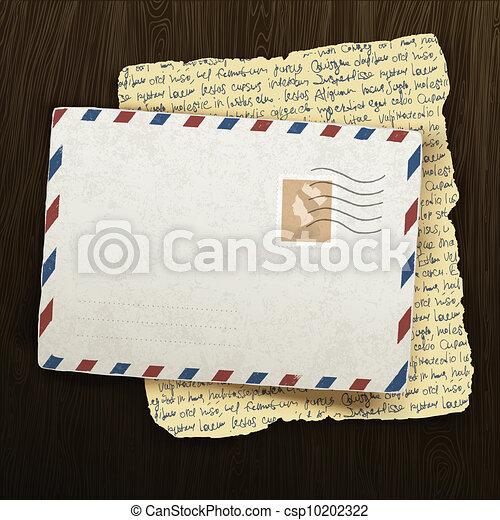 Vintage envelope and letter on wooden background. Vector illustration, EPS10 - csp10202322