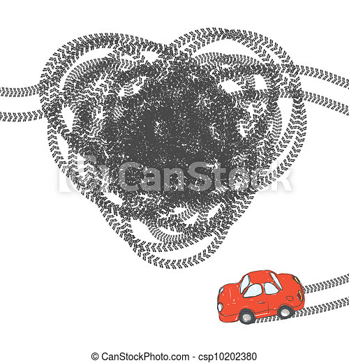 Heart shaped tire trace. Vector, EPS8 - csp10202380