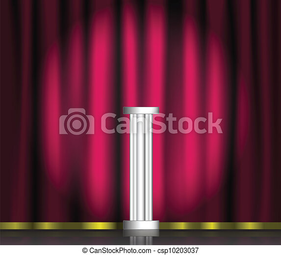 Pink curtain and pedestal on stage - csp10203037