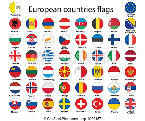 buttons with flags of Europe - csp10203157