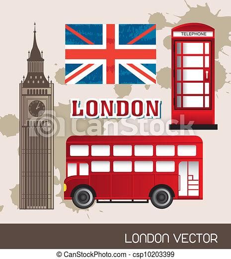 电话, 亭, 旗, 伦敦, 公共汽车, 塔, 钟, 矢量, 描述