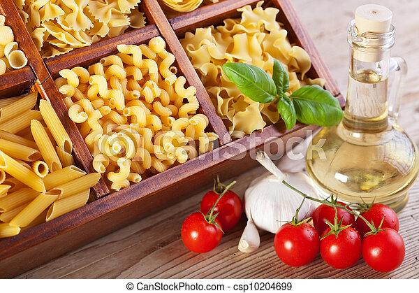 Pasta assortment and seasoning ingredients - csp10204699