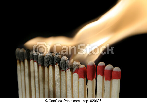 a row of igniting matches - csp1020605