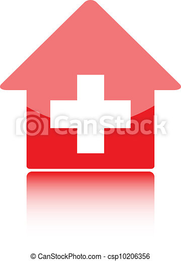 Medical icon with red hospital symbolor swiss home or swiss bank - csp10206356