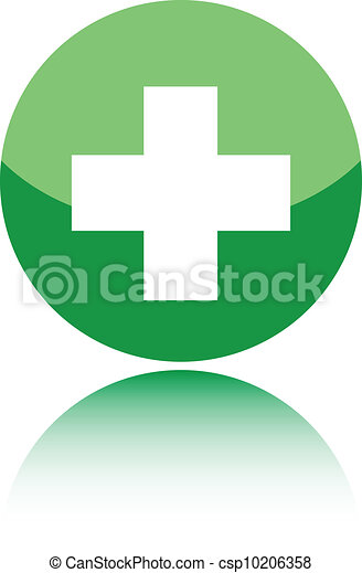 First aid medical sign on green - csp10206358
