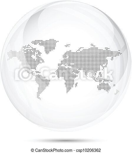 Dotted world map in a gray glass sphere - csp10206362